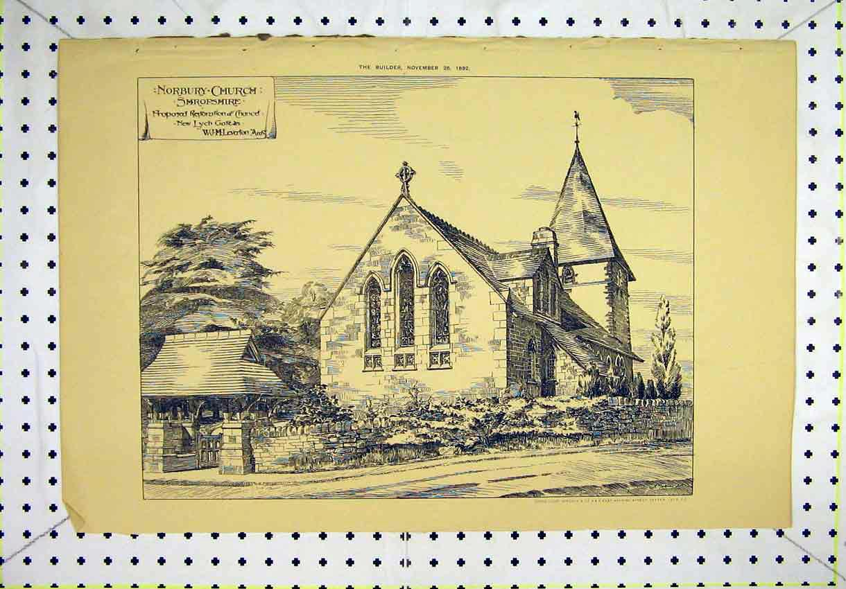 Print 1892 Exterior View Norbury Church Shropshire Leverton 128B304 Old Original