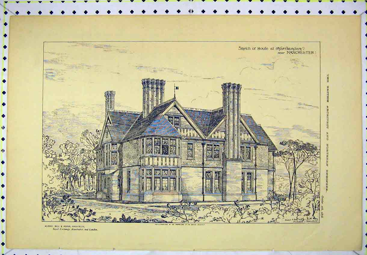Print 1878 Exterior View Sketch House Northendon Manchester 131B304 Old Original
