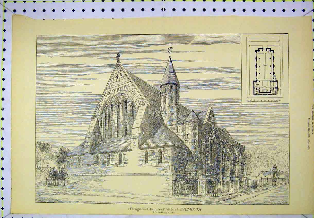 Print 1887 Exterior View Design Church All Saints Falmouth 138B304 Old Original