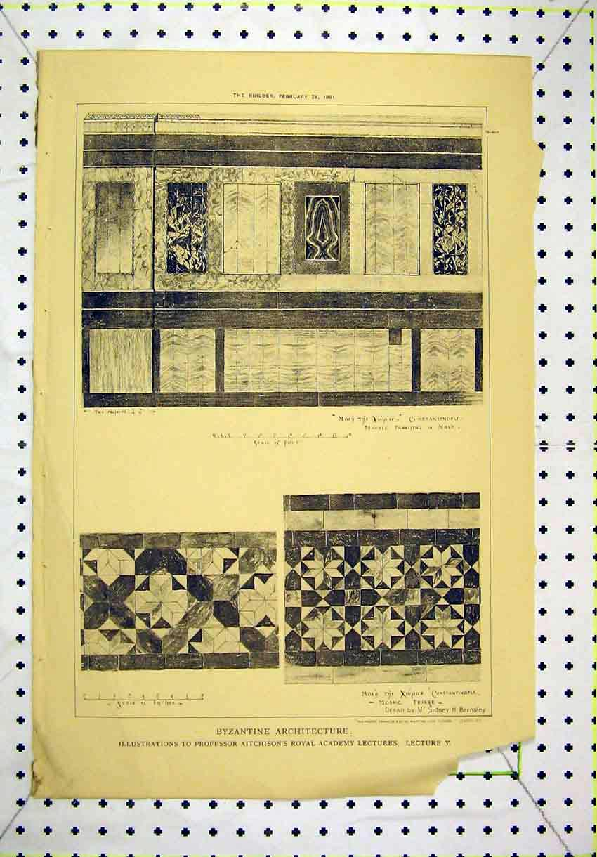 Print 1891 Byzantine Architecture Mosaic Freeze Marble Nave 140B304 Old Original