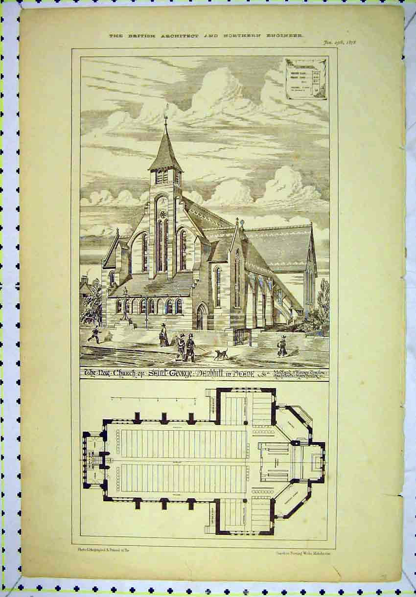 Print 1878 New Church Saint George Denbhill Deene Floor Plan 141B304 Old Original