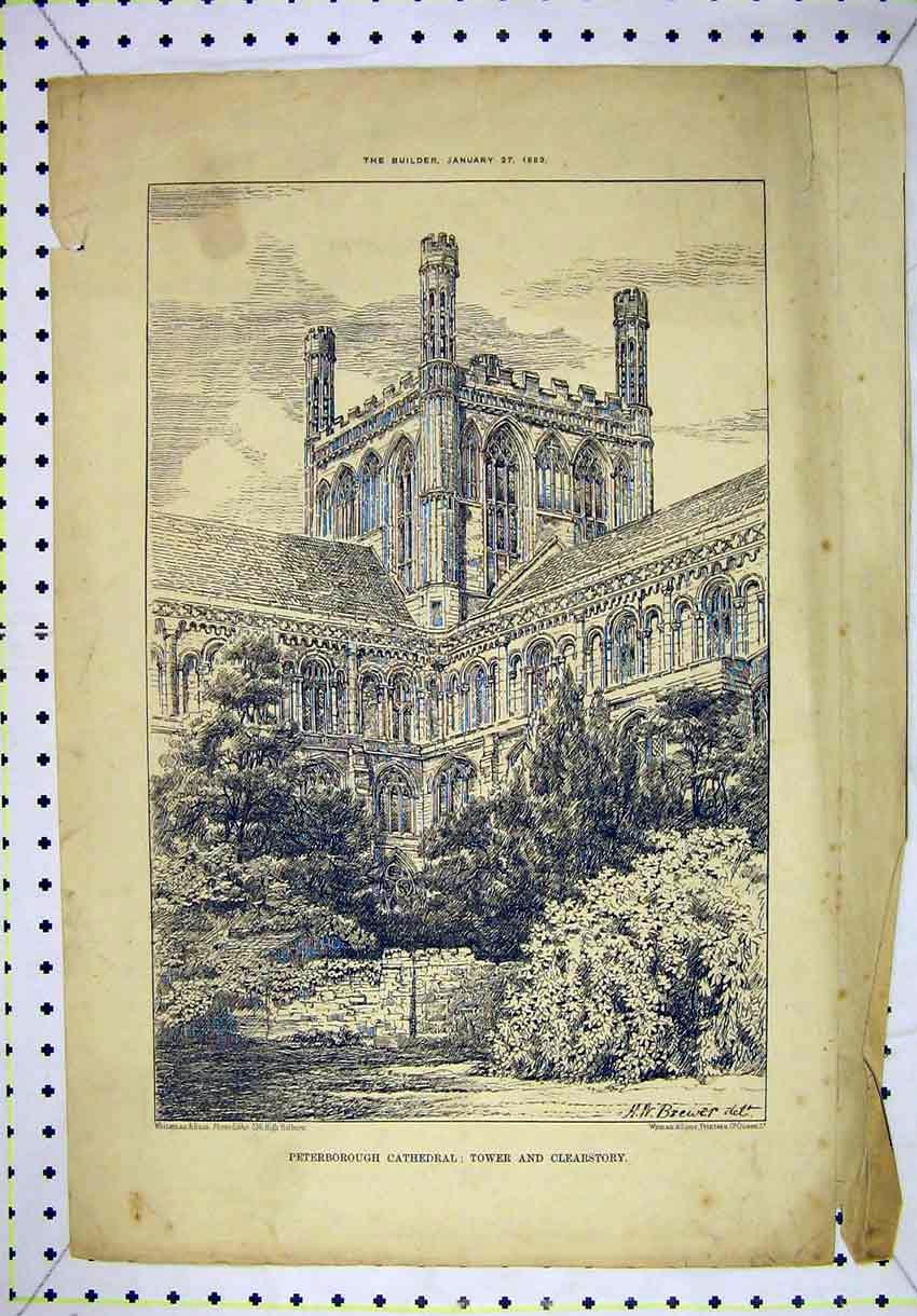 Print 1883 Peterborough Cathedral Tower Clearstory 145B304 Old Original