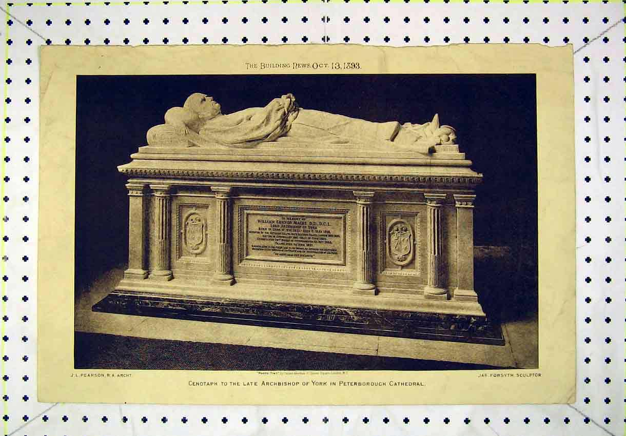 Print 1893 Cenotaph Archbishop York Peterborough Cathedral 146B304 Old Original