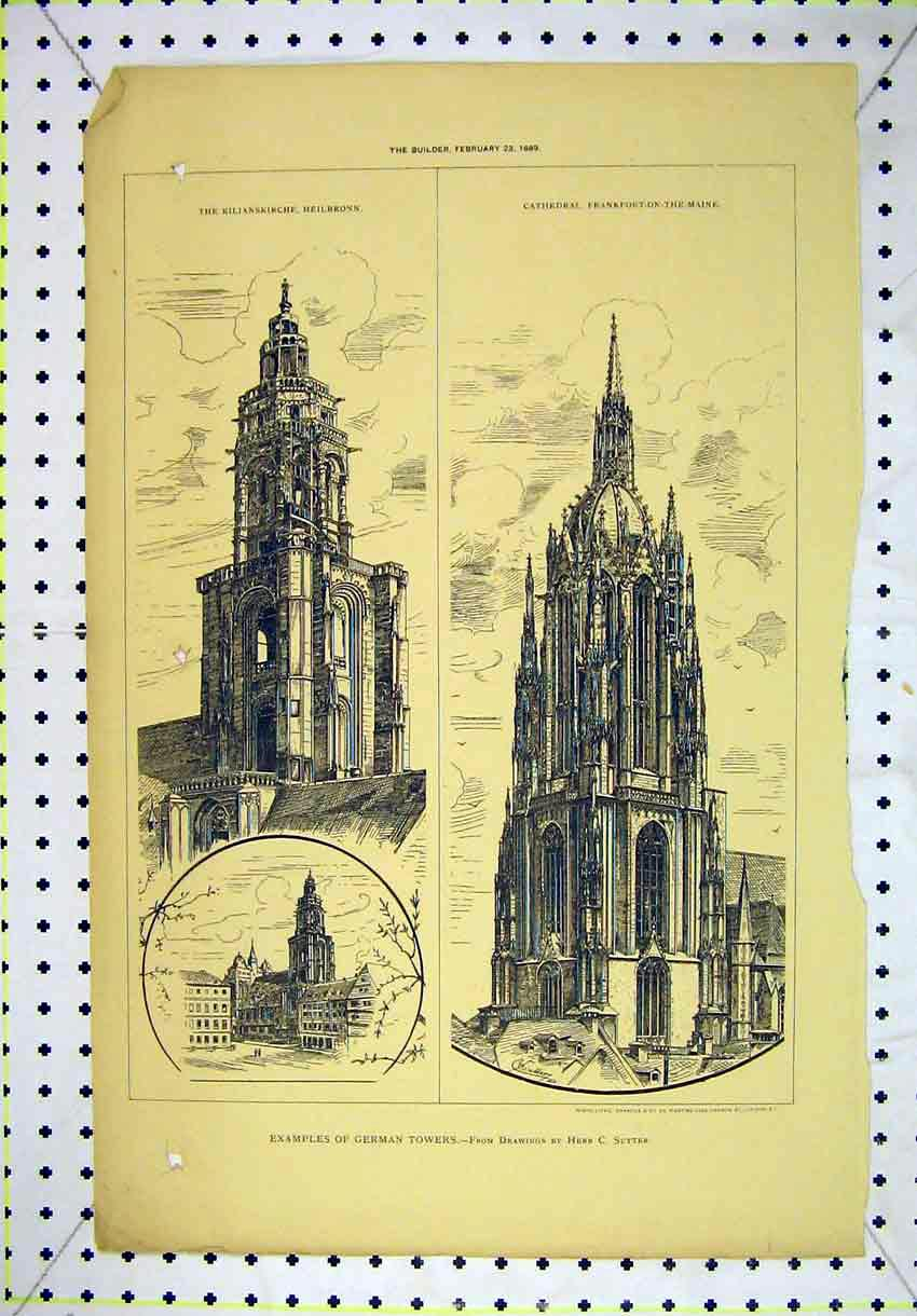 Print 1889 German Towers Kilianskirche Frankfort-Maine 150B304 Old Original
