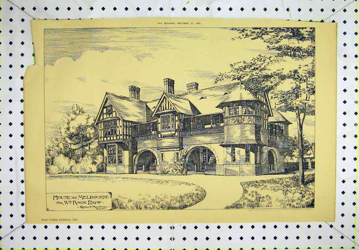 Print 1891 Exterior View House Melbourne Mortimer Knox 154B304 Old Original
