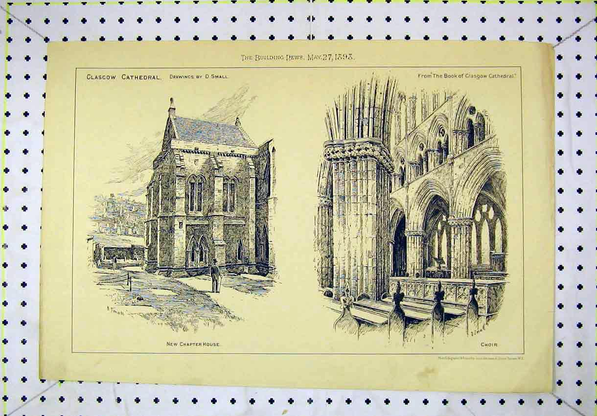 Print 1898 Glasgow Cathedral Chapter House Choir Scotland 156B304 Old Original