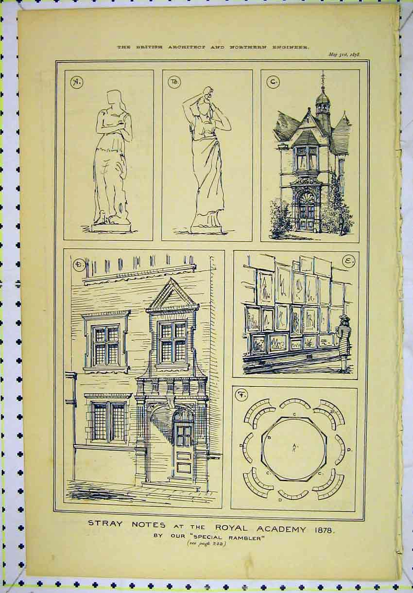 Print 1878 Sketches Royal Academy Statues Architecture 157B304 Old Original