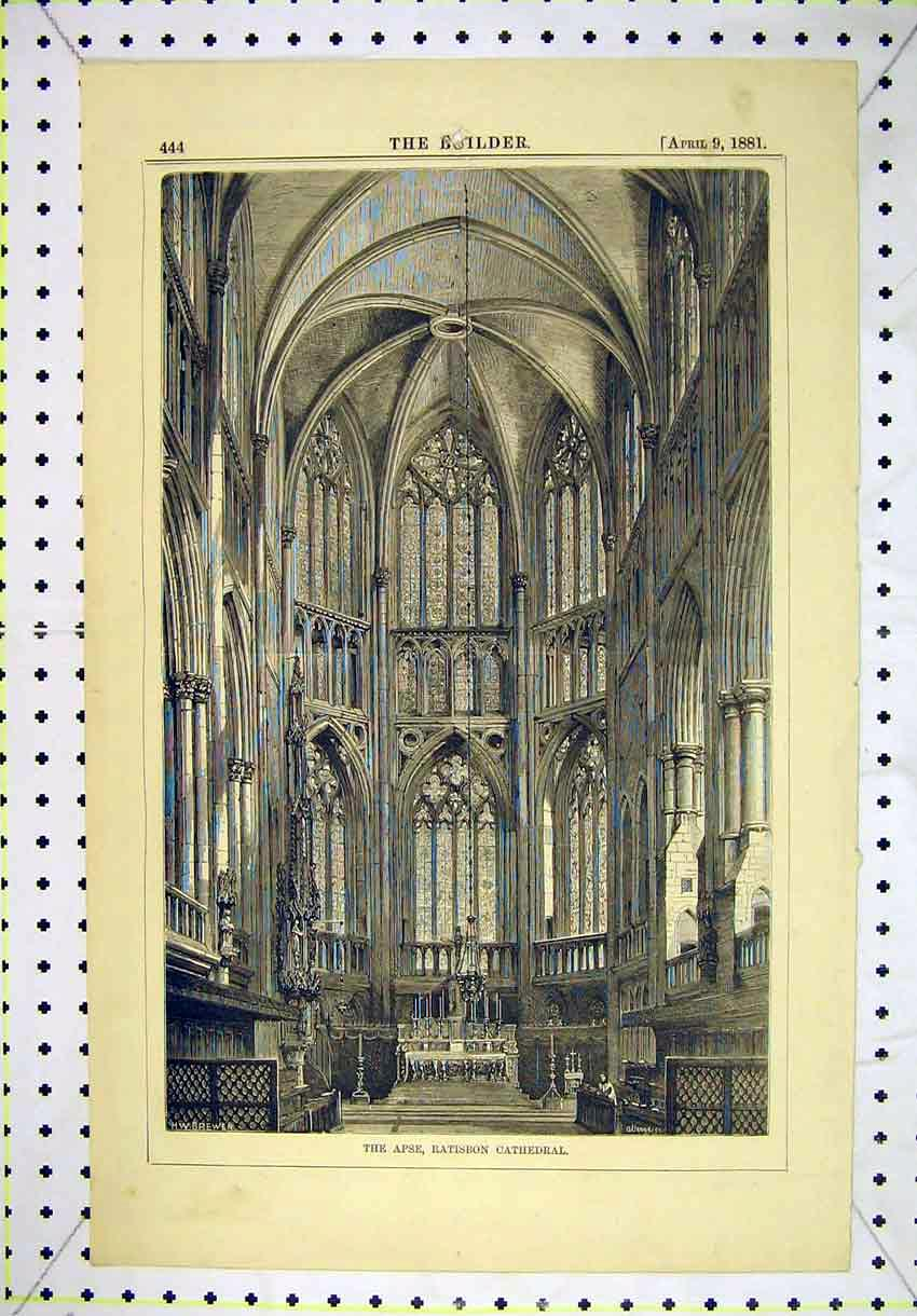 Print 1881 Interior View Apse Ratisbon Cathedral 160B304 Old Original