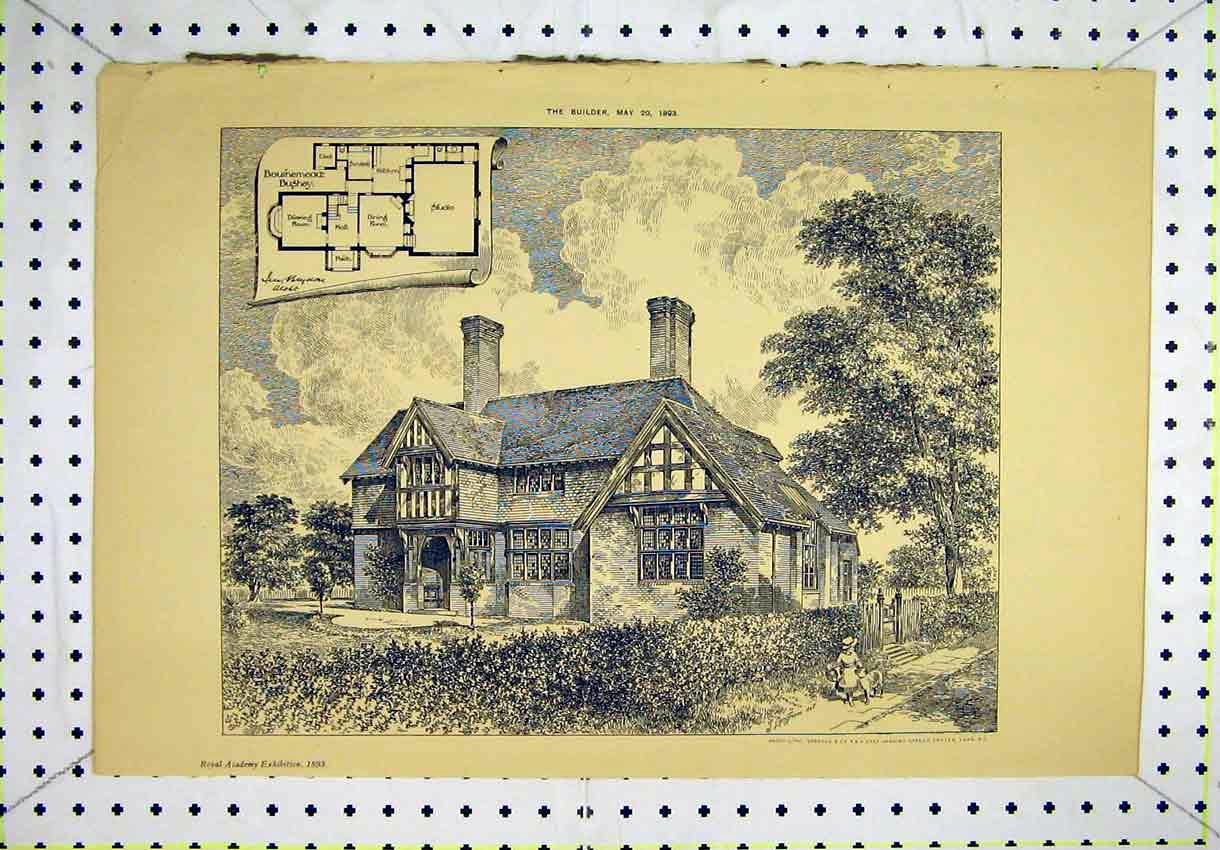 Print Bouinemead Bushey House Exterior View 1893 Floor Plan 163B304 Old Original
