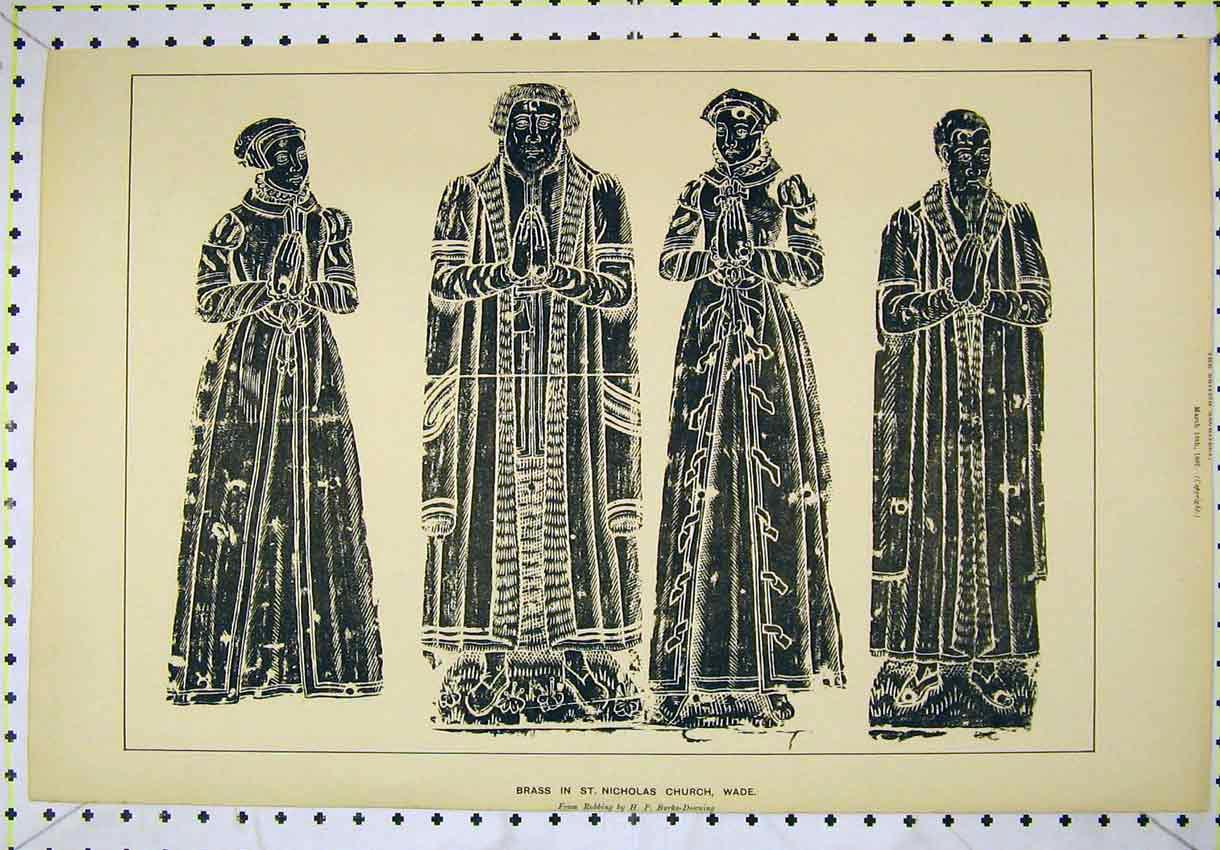 Print 1887 Brass Statue St Nicholas Church Wade 176B304 Old Original