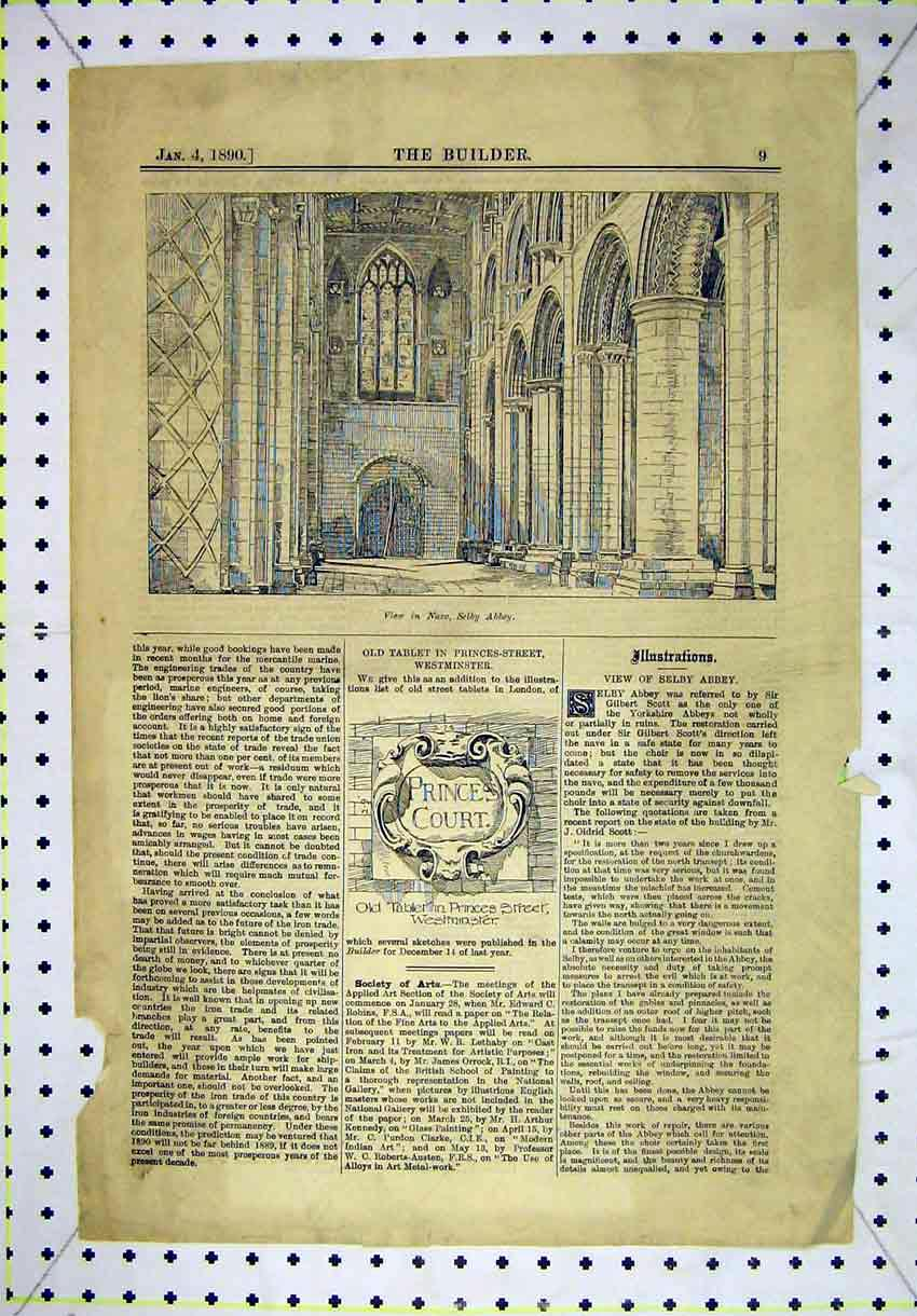 Print Interior View Nave Selby Abbey 1890 Tablet Princess 178B304 Old Original