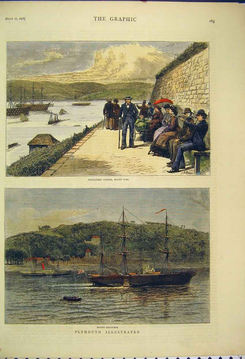 Print 1878 View Plymouth Mount Edgcumbe Pensioners Ships 109B305 Old Original