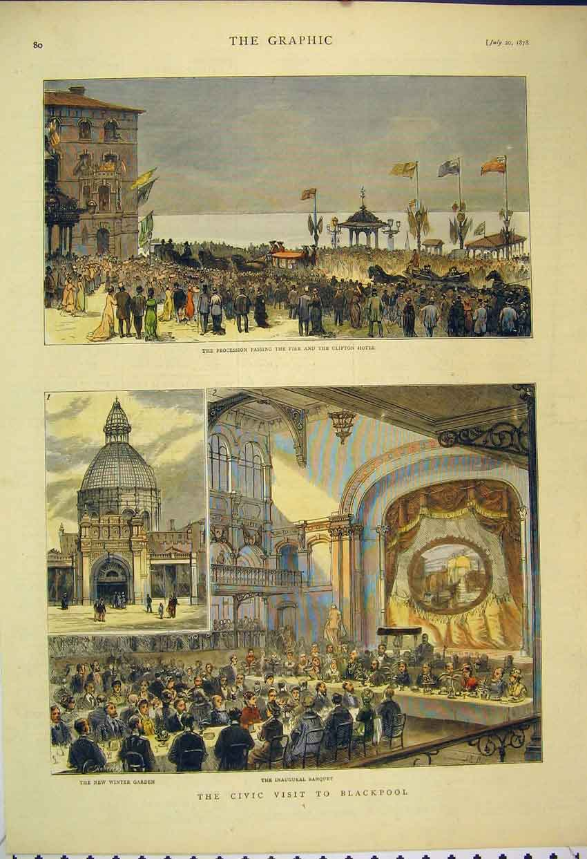 Print Blackpool 1878 Banquet Civic Procession Clifton Hotel 111B305 Old Original