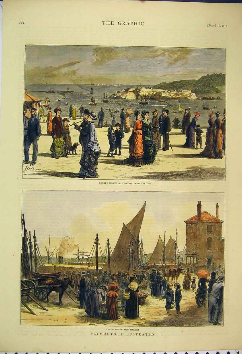 Print 1878 Plymouth Barbican Fish Market Drake'S Island Sound 119B305 Old Original