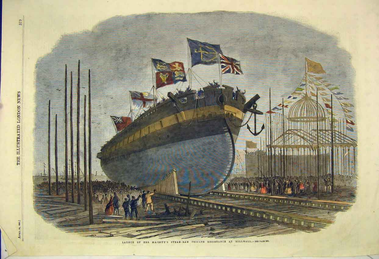 Print 1861 Launch Queen Steam Frigate Resistance Millwall 123B305 Old Original