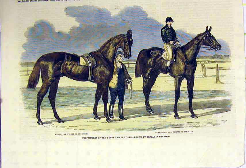 Print 1857 Race Horse Fisherman Jockey Hand Coloured 106B306 Old Original