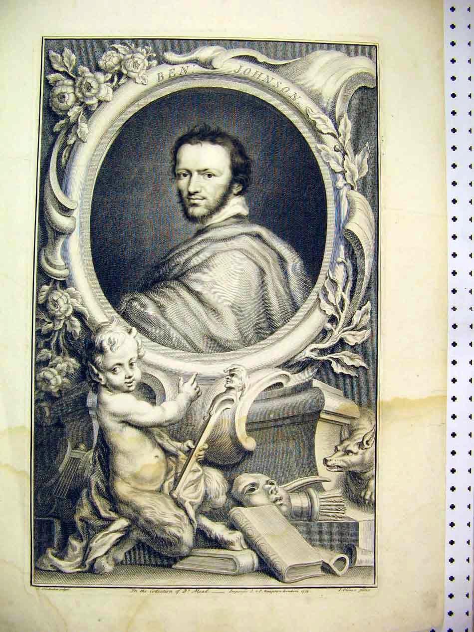 Print 1738 Fine Art Portrait Ben Johnson Cherub Dr Mead 102B307 Old Original
