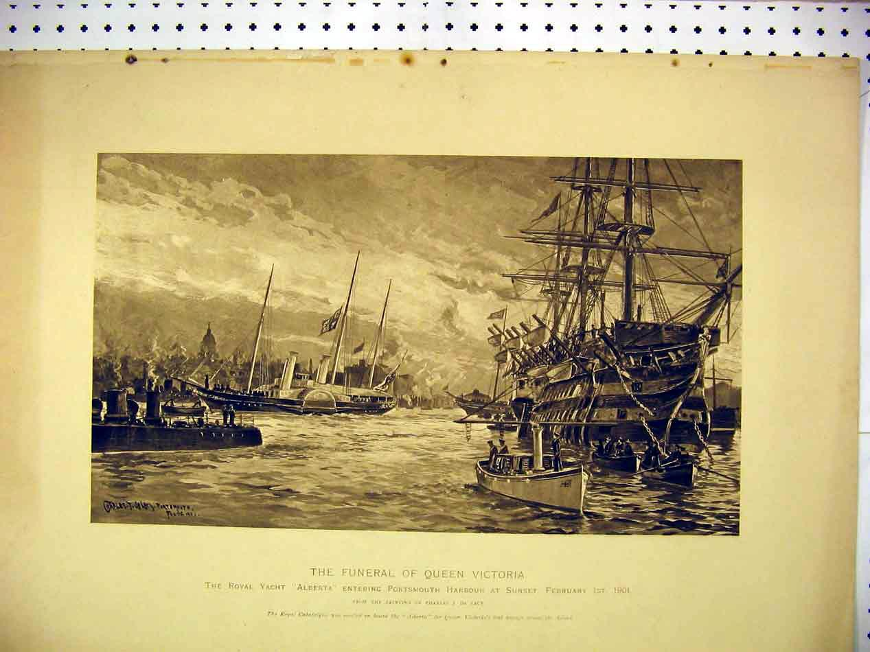 Print 1901 Funeral Queen Victoria Yacht Alberta Portsmouth 111B307 Old Original