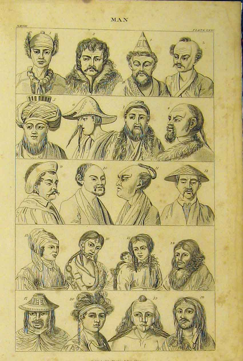 [Print Men Women Portraits Hats Chinese C1860 Moustaches 257B319 Old Original]