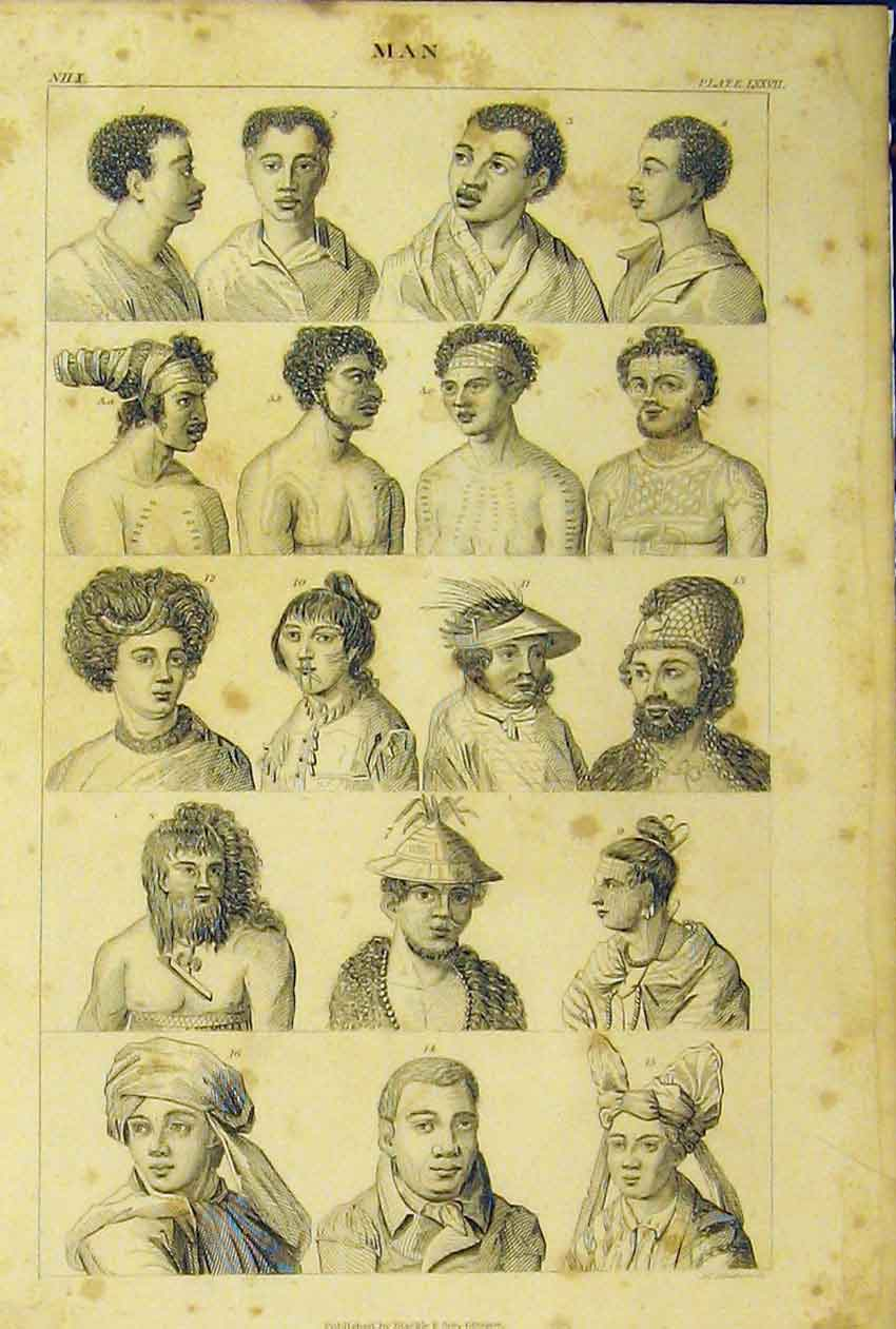 Print Men Portraits C1860 Foreign Tribal Animated Nature 259B319 Old Original