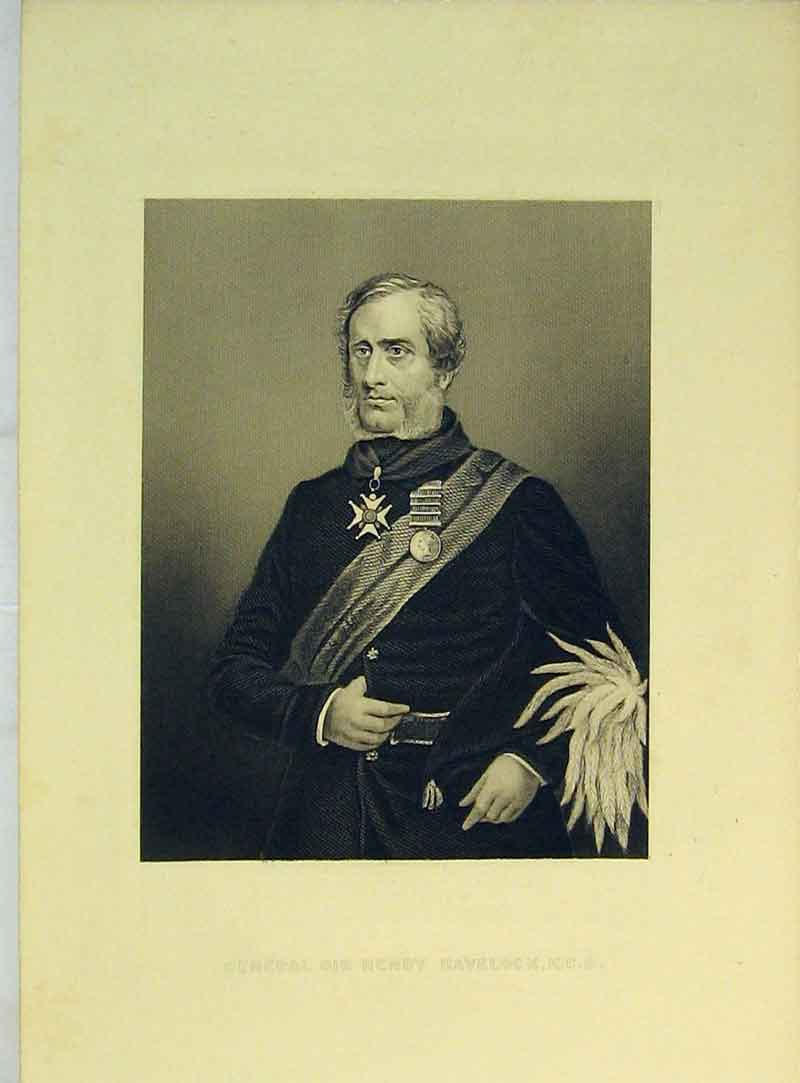 Print Portrait General Sir Henry Havelock C1830 107B322 Old Original
