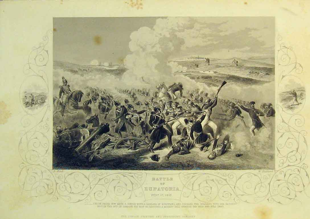 Print 1855 Scene Battle Eupatoria War Soldiers Horses Guns 108B322 Old Original