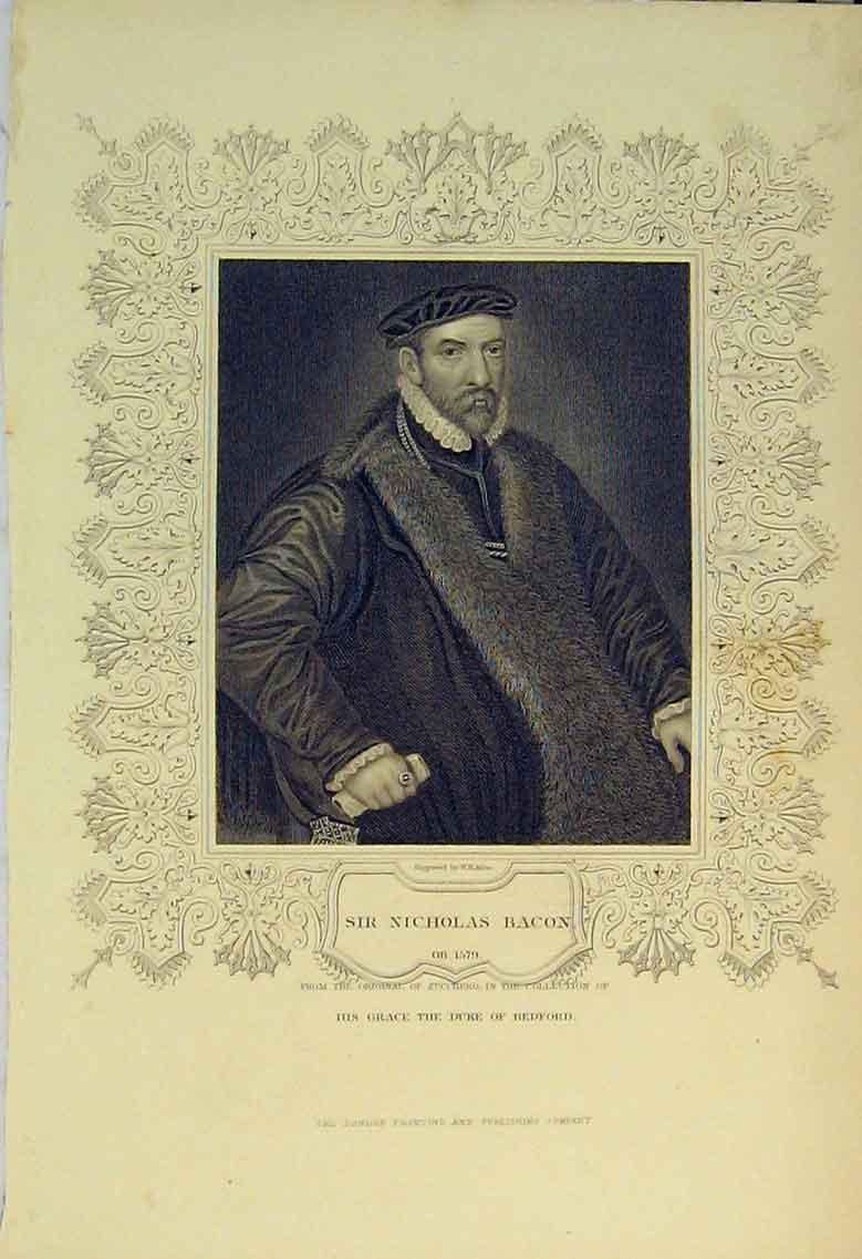 Print C1830 Portrait Nicholas Bacon Duke Bedford 151B322 Old Original