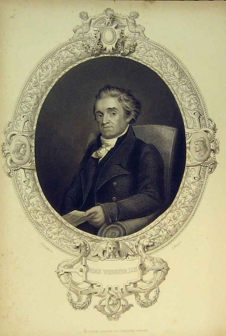 Print C1830 Portrait Noah Webster Morse Rogers 155B322 Old Original