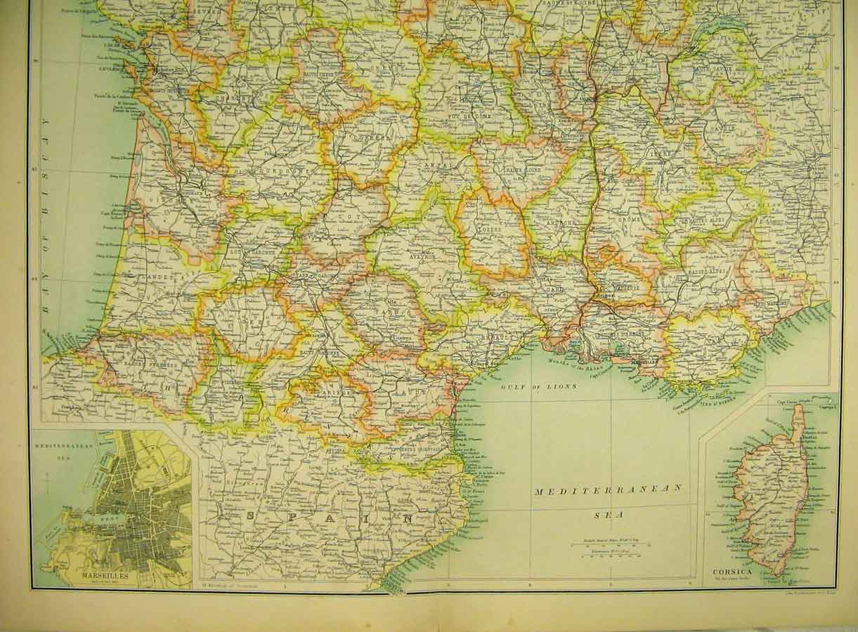 Print 1898 Map France Southern Section Corsica Marseilles 146B325 Old Original