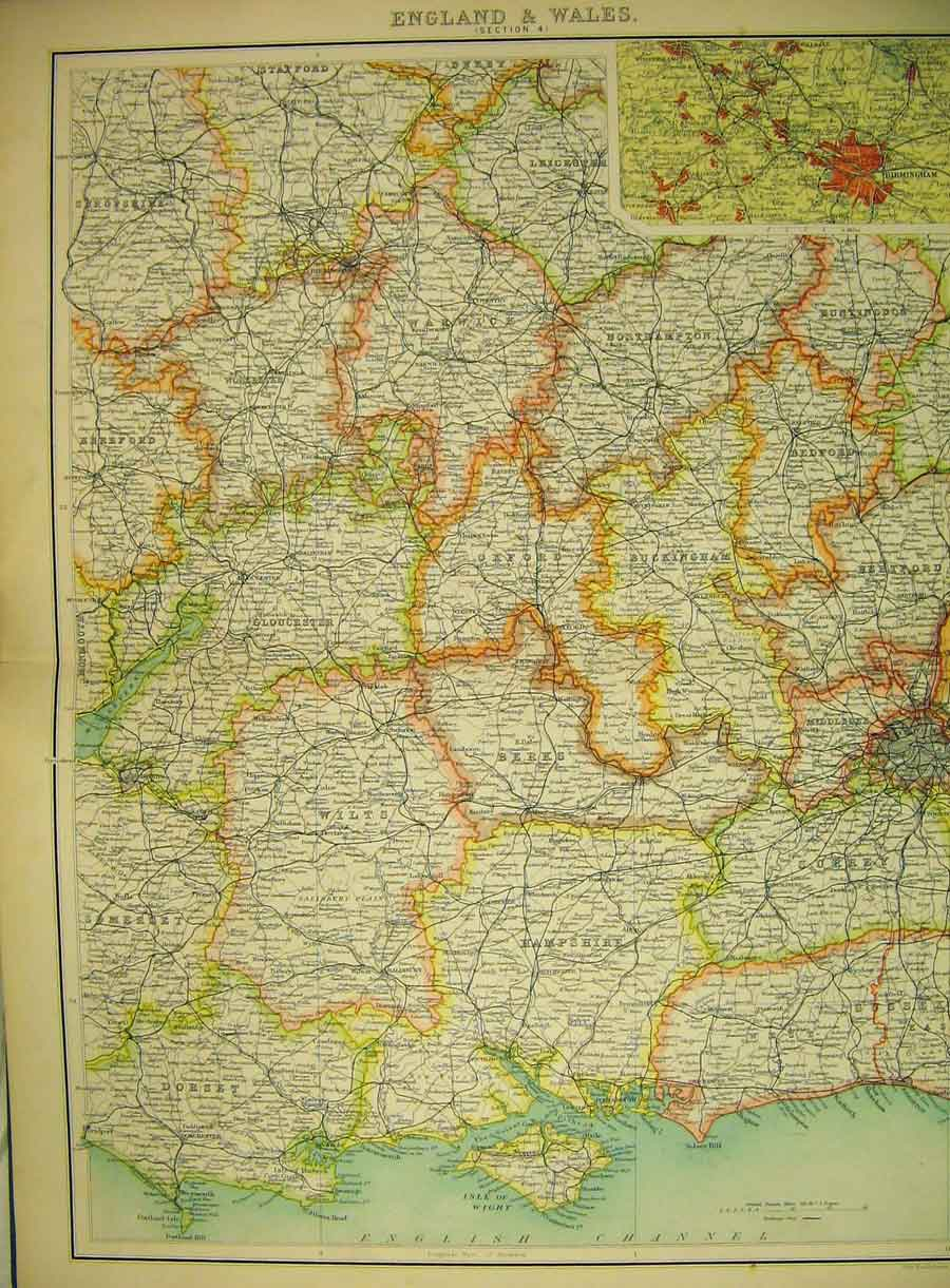 Print England Wales Map 1898 Birmingham English Channel 155B325 Old Original