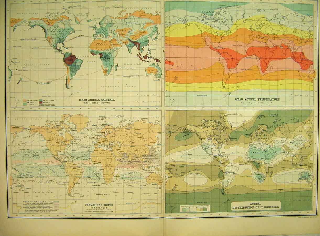 Print 1898 Map World Climate Rainfall Temperature Winds 168B325 Old Original