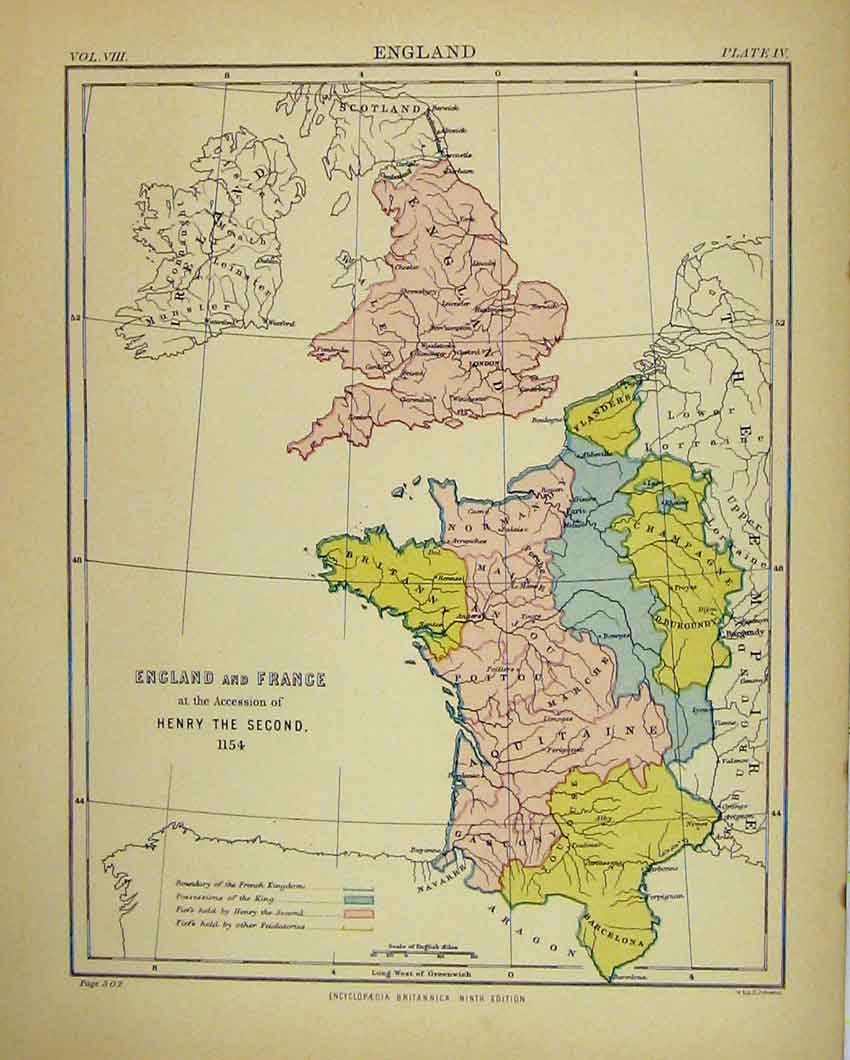 Old print antique and victorian art prints paintings world maps print map england france britannica ninth edition king henry 614b328 old original gumiabroncs