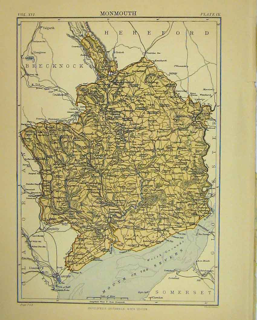 Print Map Monmouth England Britannica Ninth Edition 625B328 Old Original