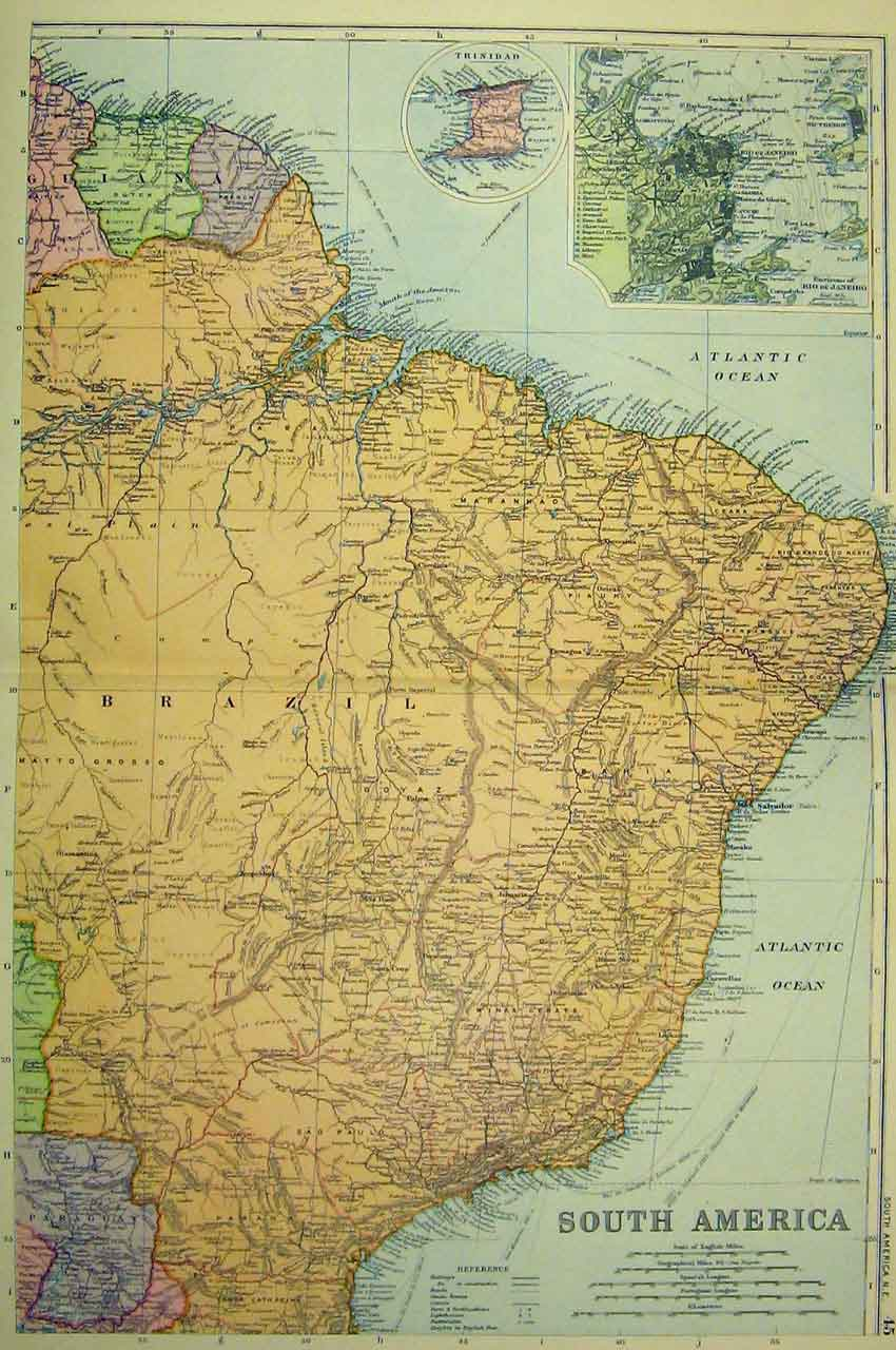 [Print Map South America Trinidad C1890 Bacon World 307B330 Old Original]