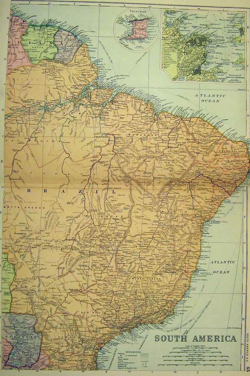 Print Map South America Trinidad 1901 Bacon World 212B331 Old Original
