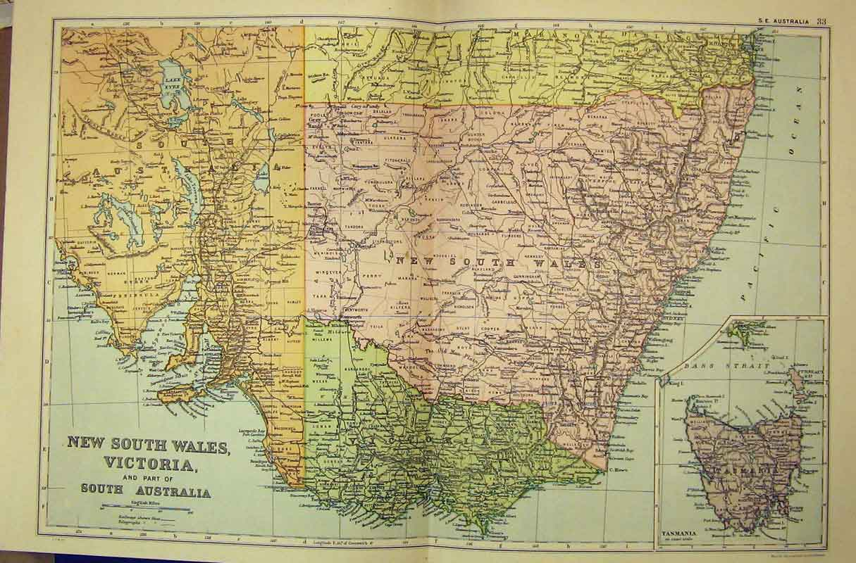 Print 1912 New South Wales Victoria South Australia Bacon 135B332 Old Original