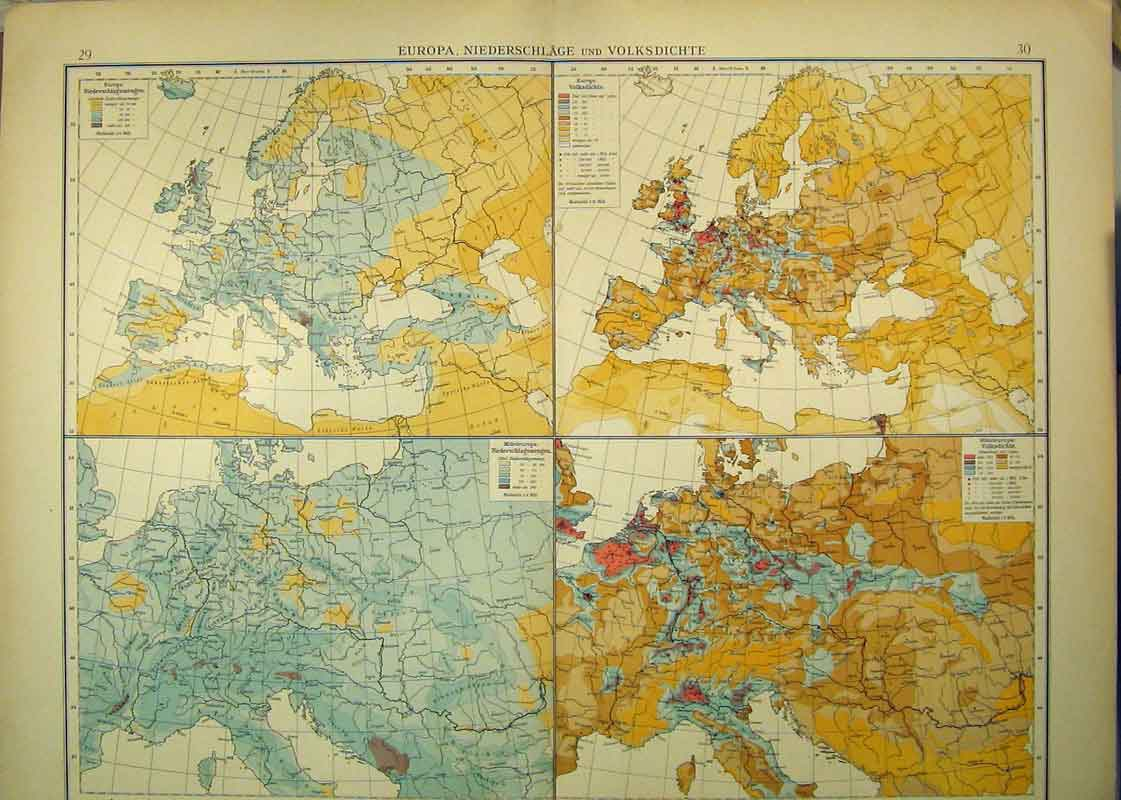 Print 1893 German Map Europe Netherlands Temperature 323B333 Old Original