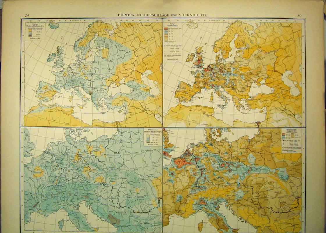 Print 1910 German Map Europe Temperature Rainfall 328B333 Old Original