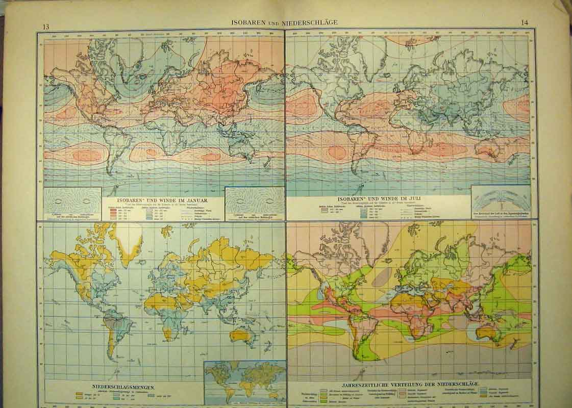 Print 1910 German Map World Rainfall Temperature 331B333 Old Original