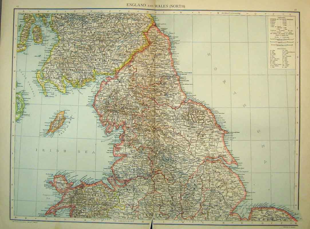 Print Universal Map England South Wales Channel Lundy 216Ab334 Old Original