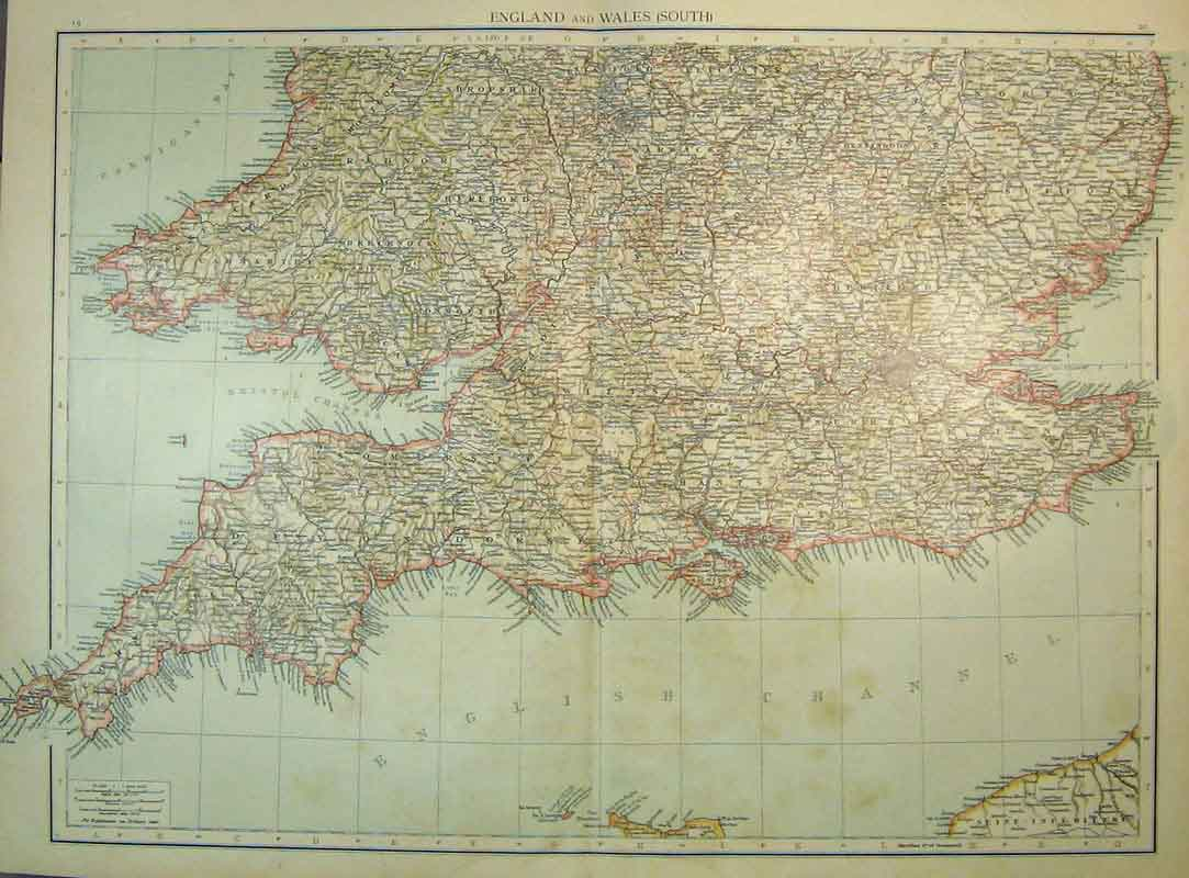 Print 1898 Universal Map England South Wales Lundy 218B334 Old Original