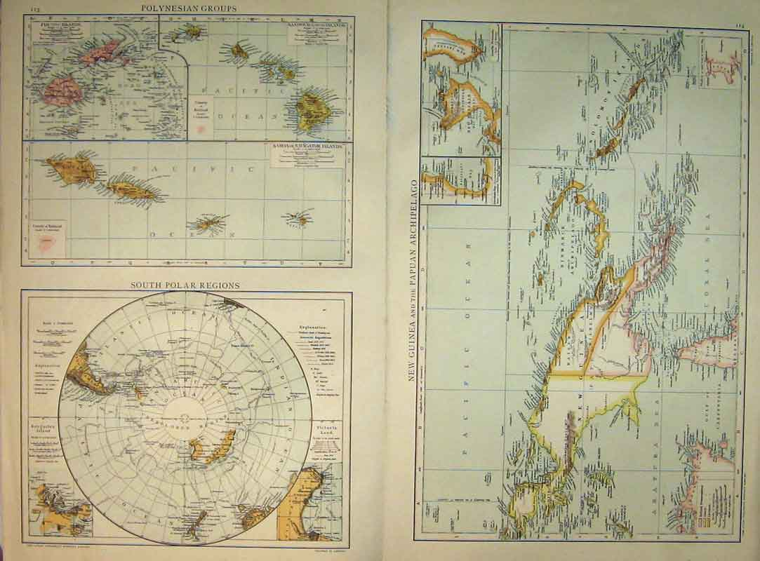 Print 1893 Universal Polar Regions New Guinea Solomon 229B334 Old Original