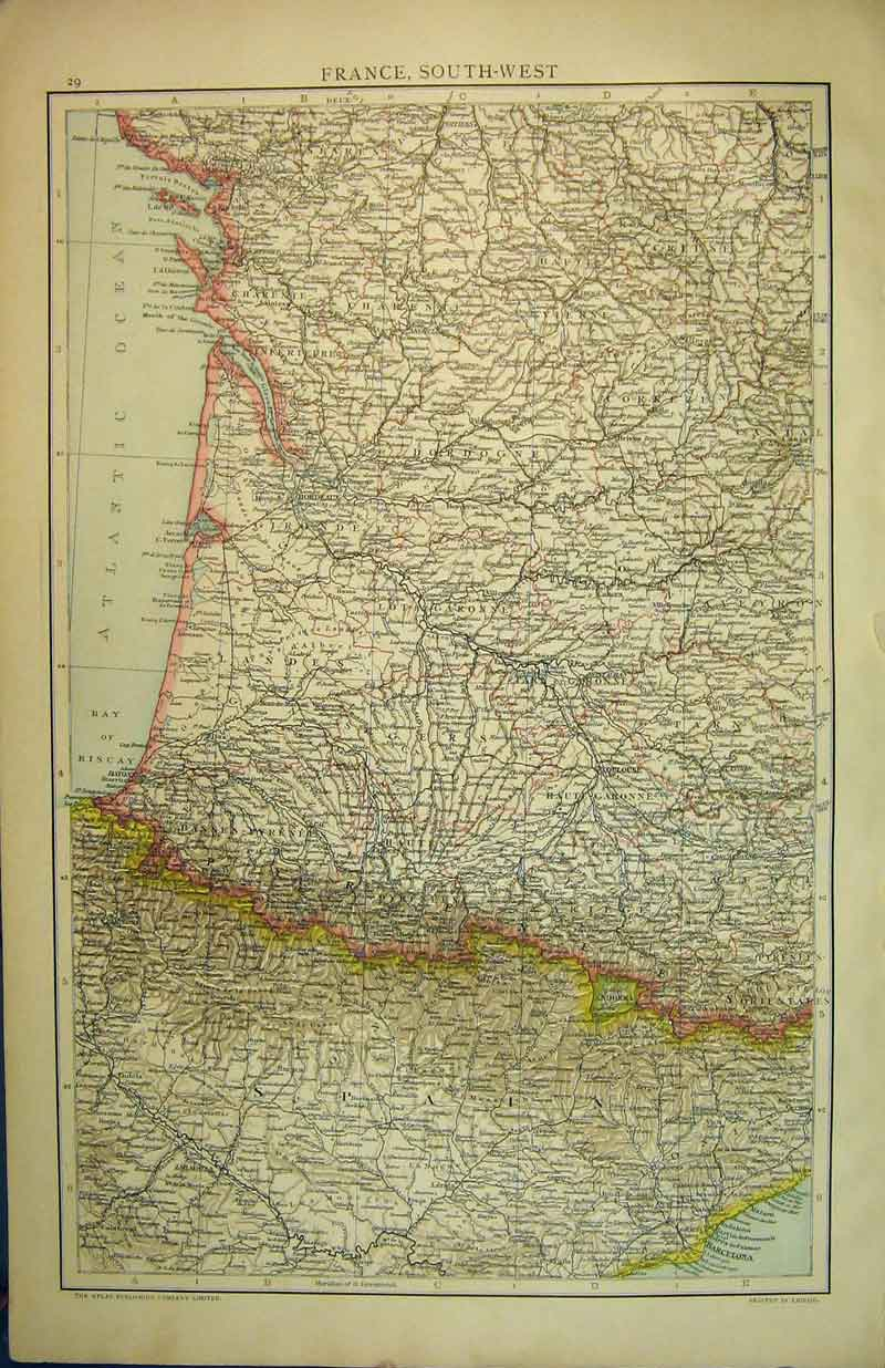 Print 1893 Map South West France Europe Bay Biscay Altas 912B335 Old Original