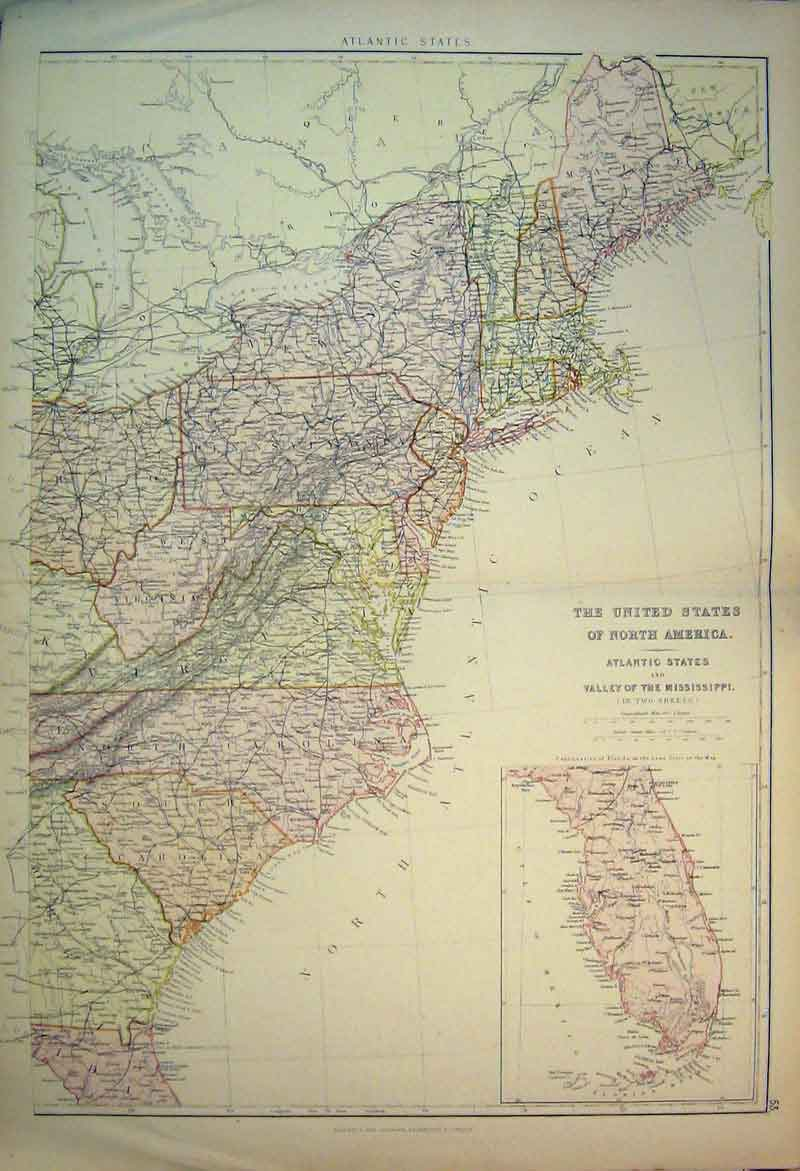 Print 1882 Map United States North America Gulf Mexico 804B336 Old Original