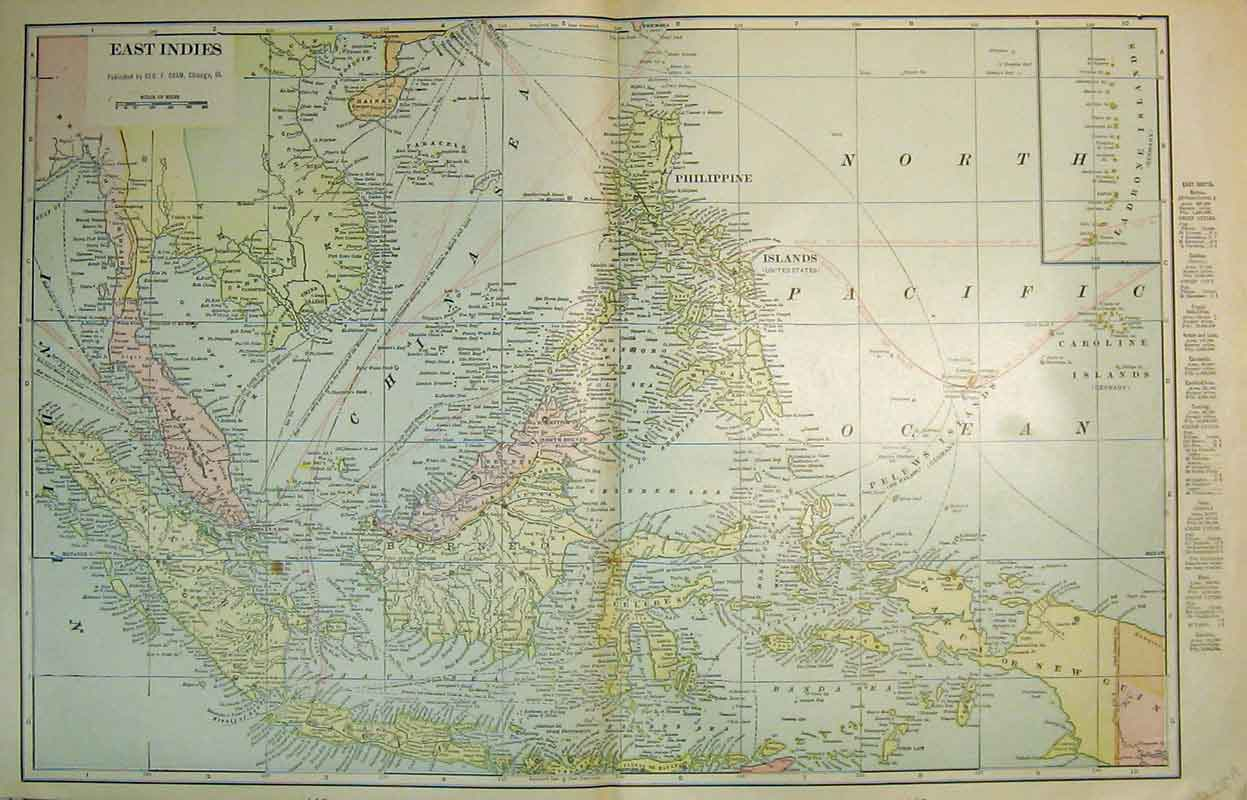 Print Map Australia Queensland Victoria Philippine Borneo 428B337 Old Original