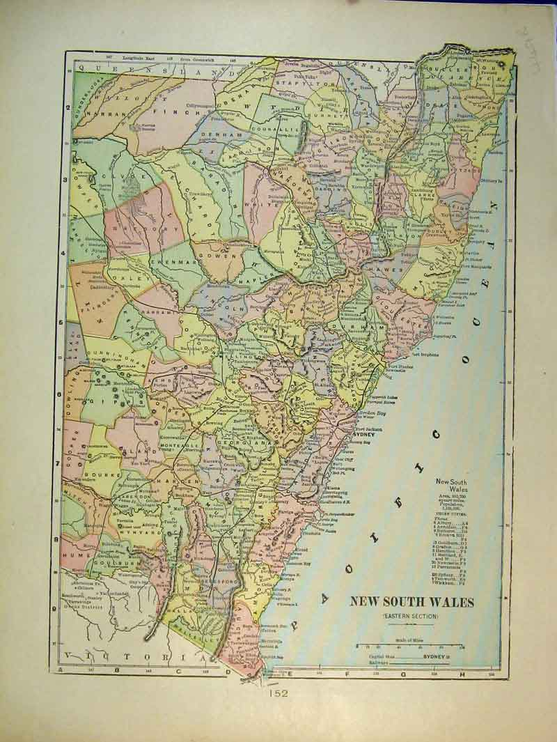 Print 1901 Map New South Wales Australia West South 449B337 Old Original