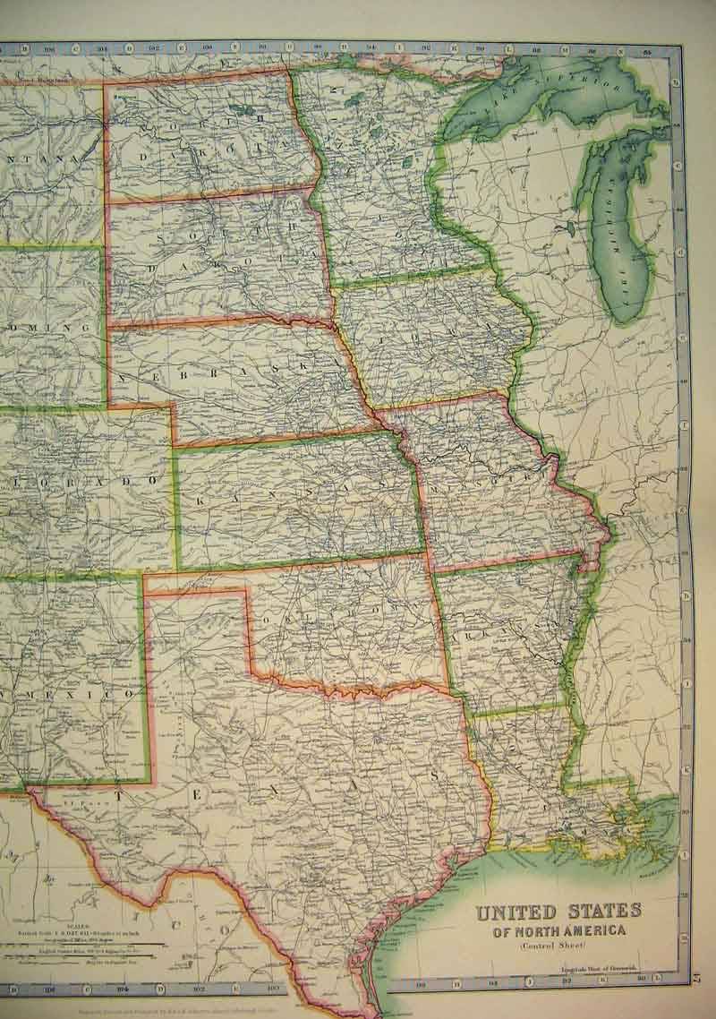 Print 1910 Map Central United States North America Texas 605B338 Old Original