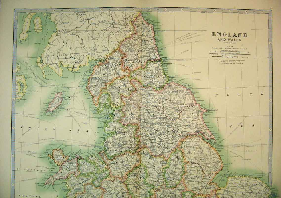 Old print antique and victorian art prints paintings world maps print 1910 map england wales isle man north sea irish 614b338 old original gumiabroncs Gallery