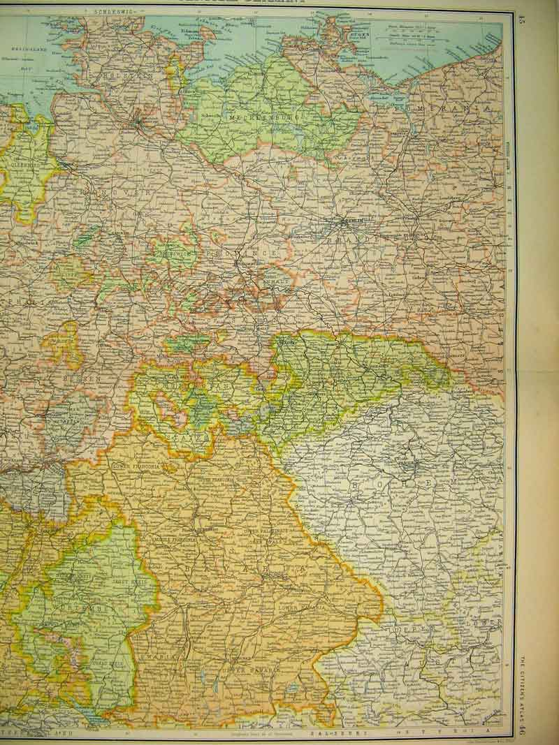 Print Map Central Germany Munchen Europe Brunswick 709B339 Old Original
