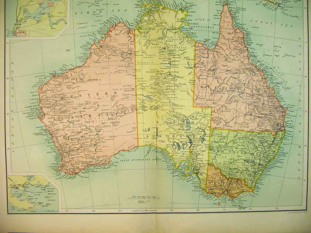 Print 1910 Austrlia Albany South Wales Victoria Queensland 730B339 Old Original